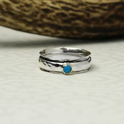 925 Sterling Silver Spinning Ring With Turquoise Stone - Order Any Size L-t • 19£
