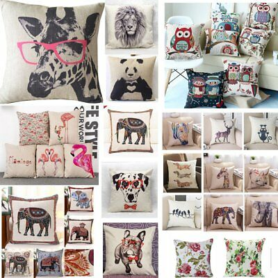 18  Vintage Linen Cotton Cushion Cover Waist Throw Pillow Case Home Sofa Decor • 4.75£