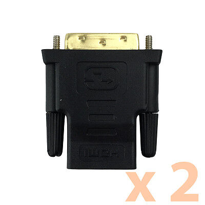AU7.79 • Buy 2 X DVI D Male Dual Link Plug To HDMI Female Socket Converter Adapter For HDTV