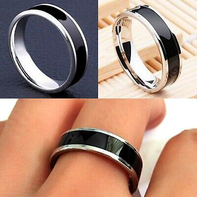 £4.99 • Buy 6mm Stainless Steel Black Silver Mens  Womens Wedding Band - Ring Size L To Z