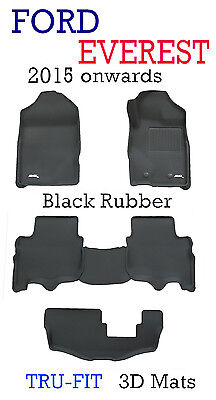 AU219 • Buy Suits Ford Everest Black Rubber 3D Floor Mats - 2015 - 2020