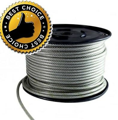 4 6 8 10mm Extra Strong Galvanised Steel Clear PVC Plastic Coated Wire Rope Zinc • 2.48£