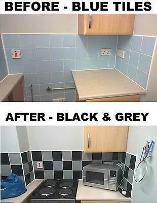 £2.45 • Buy Tile Stickers Transfers Black And Grey For 4  X 4  Inch  Tiles 100mm X 100mm