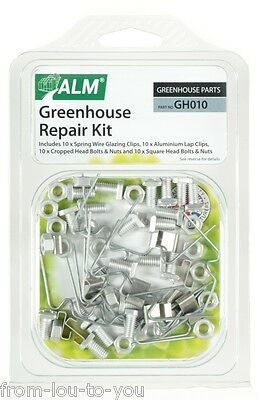 Greenhouse Repair Kit - Spring Wire W & Lap Window Clips Square & Cropped Bolts • 6.99£