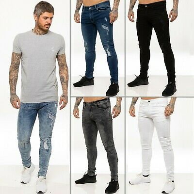 £17.99 • Buy Enzo Mens Skinny Super Stretch Fit Ripped Jeans Destroyed Denim Pants  All Waist