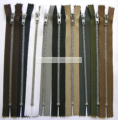 Silver Metal Teeth Trouser Jeans Zip Closed Ended ( 9 Colours & Lengths ) • 2.39£