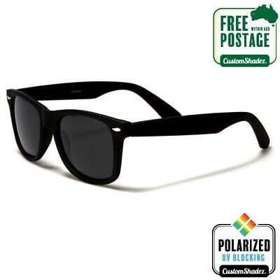 AU14.95 • Buy Polarised Retro Sunglasses - Matte Black Frame- Mens / Womens - Free Postage Aus