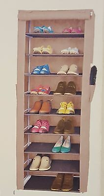 AU24.45 • Buy Standing Canvas Shoe Rack - Storage Organiser Holds Up To 27 Pairs BROWN