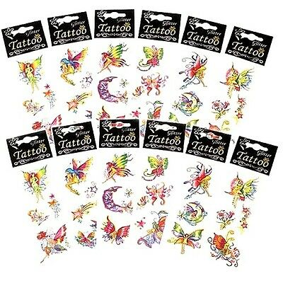 6 X Girls Kids Childrens Fairy Glitter Tattoos Transfers Party Loot Bag Fillers • 2.89£