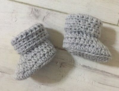 Handmade Crocheted/Knitted Baby Cuffed Booties 0-3,3-6 & 6-9 In Silvery Grey • 4.99£