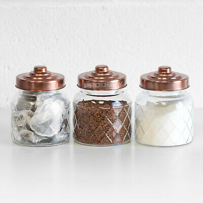 £14.99 • Buy 3 X Glass Storage Jars Copper Lids Tea Coffee Sugar Canisters Kitchen Containers