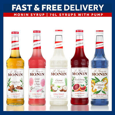 NEW Monin Coffee & Cocktail 70cl Glass Syrup Flavours & Pump - AS USED BY COSTA • 9.49£