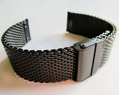 BLACK STEEL WATCH BRACELET Chainmail Snake Mesh 18 20 22mm Quality Strap Band • 13.99£