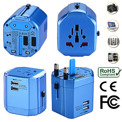 AU34.99 • Buy Universal World Travel Adapter With Dual USB Charger Wall AC Power -Sky Blue