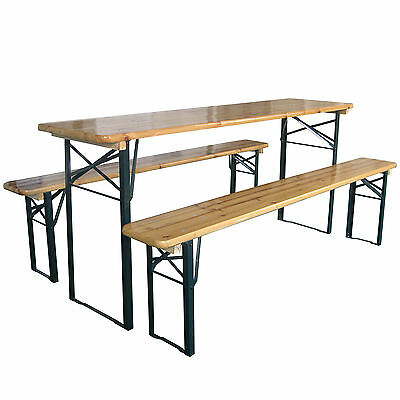 Outdoor Wooden Folding Beer Table Bench Garden Furniture Set Steel Trestle Legs • 99.99£