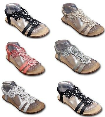 Women Ladies Sandals Summer Beach Fancy Flat Party Wedding Shoes 3 To 8 Sizes • 10.99£