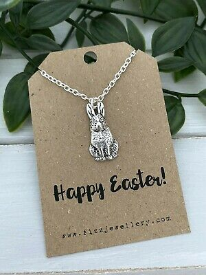 £3.99 • Buy Happy Easter Bunny Rabbit Silver Plated Necklace Message Card Quote Gift