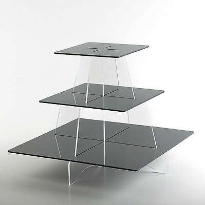 £14.99 • Buy Cupcake Stand Square Shelves Acrylic Party Cake Display Holder 3 Tier
