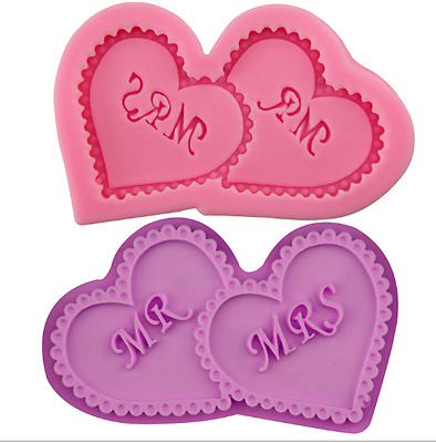 £3.75 • Buy Mr Mrs Wedding Silicone Icing Mould Baking Chocolate Cake Topping Sugar Heart