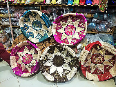 Moroccan Pouffe Leather Footstool Various Colours Seating Ottoman Pouffet Puffet • 27.95£