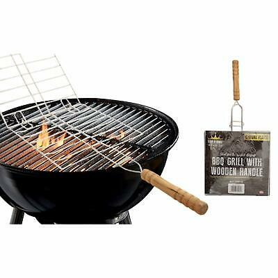 Bbq Fish/meat/vegetable Grill Chrome Plated With  Wooden Handle • 9.89£