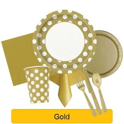 £2.49 • Buy GOLD Party Tableware Disposable Birthday Supplies Event Decorations