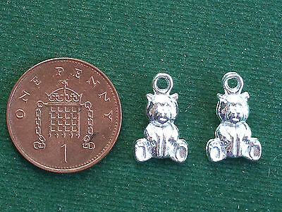 £2.40 • Buy 10 Teddy Bear Charms - Bright Silver - 3D - Baby Traditional Toy