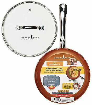 $61.69 • Buy Nonstick Frying Pan 10  Round Skillet Coated Ceramic Copper Chef With Glass Lid