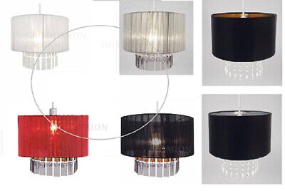 £20.51 • Buy Fabric Light Shade Ribbon Ceiling Pendant Crystal Droplet Voile Style Easy Fit