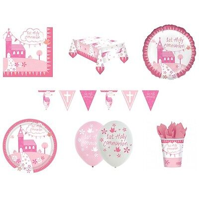1st HOLY COMMUNION CHURCH First PINK/GIRL Party Range - Tableware & Decorations • 1.29£