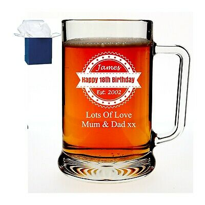 £11.98 • Buy Personalised Engraved Glass Pint Tankard Birthday Gift 60th 65th, 70th, Any Age