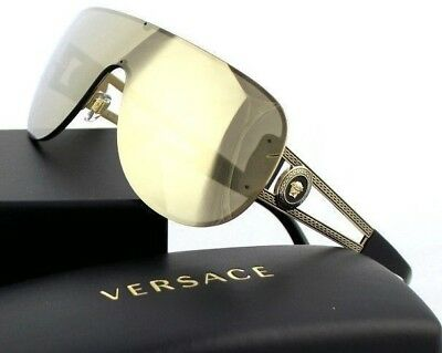 93301976e47 NEW Genuine VERSACE Rock Icons Pale Gold Mirror Shield Sunglasses VE 2166  12525A • 499.95AU