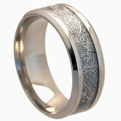 8mm Stainless Steel Mens & Womens Wedding Band - Silver Celtic Ring Size J To Z4 • 4.99£
