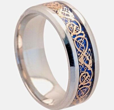 £4.99 • Buy 8mm Blue Gold Stainless Steel Mens Womens Celtic Band Silver Wedding Ring H - Z3