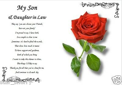 SON & DAUGHTER IN LAW  GIFT( Laminated Gift) • 3.59£