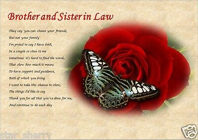 £3.59 • Buy BROTHER & SISTER IN LAW GIFT Personalised Poem (Laminated Gift)