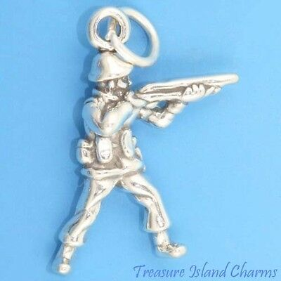 £10.75 • Buy Soldier With Gun Military Army 3D 925 Solid Sterling Silver Charm Pendant