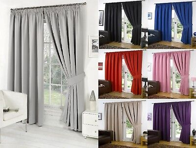 £19.95 • Buy Thermal PENCIL PLEAT Blackout PAIR Curtains Ready Made Fully Lined Free Tiebacks