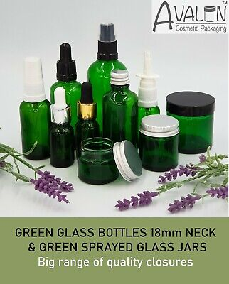 Green Glass Bottles Droppers Sprays Etc & Glass Jars With Lids (Empty) 10-100ml • 7.59£