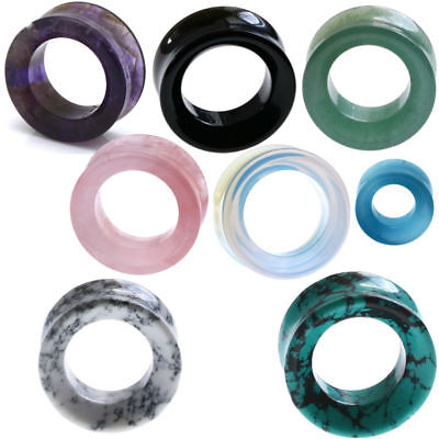 $9.99 • Buy Ear Gauges Organic Stone Ear Plugs Hollow Centered Tunnels Double Saddle Beveled