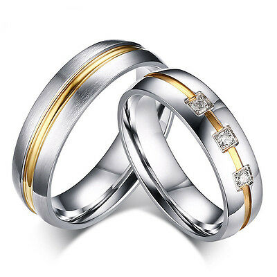 Silver His And Hers Ladies Mens Gold Wedding Engagement Couple Ring Size M Gift • 5.99£