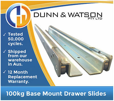 AU285 • Buy 500mm To 1600mm 100kg Base Mount Drawer Slides / Fridge Runners - Draw Trailers