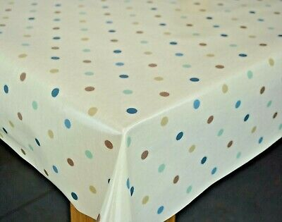 Clarke And Clarke Dotty Duckegg Cotton PVC WIPE CLEAN Tablecloth Oilcloth • 8.89£