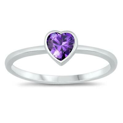 $7.59 • Buy Simple Solitaire Amethyst CZ Heart Ring New .925 Sterling Silver Band Sizes 2-10
