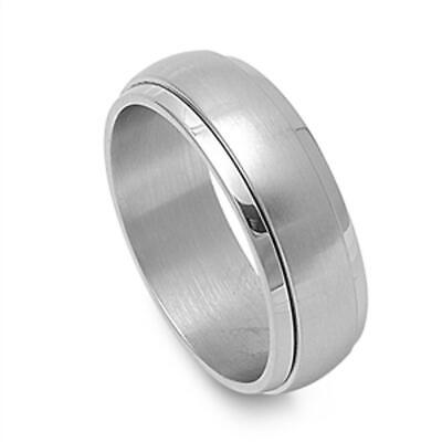 $10.29 • Buy Men's Spinner Ring Classic Polished Stainless Steel Band New USA 8mm Sizes 8-13