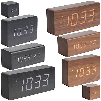 Karlsson Wood Block Alarm Clock Date And Temperature Minimalist Table Clock • 29.50£