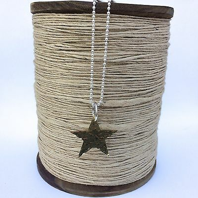 Sterling Silver 18  Ball Chain With Large Golden Brass Hammered Star • 45£