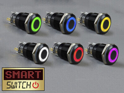 £4.99 • Buy SmartSwitch 12V/24V 22mm IP67 Steel LED Illuminated ON/OFF HALO Button Switch