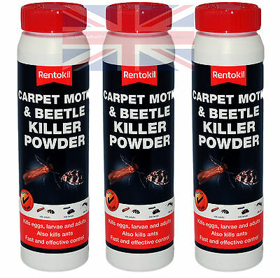 3 X Rentokil Carpet Moth & Beetle Powder Killer - Also Kills Eggs, Larvae Etc  • 19.95£