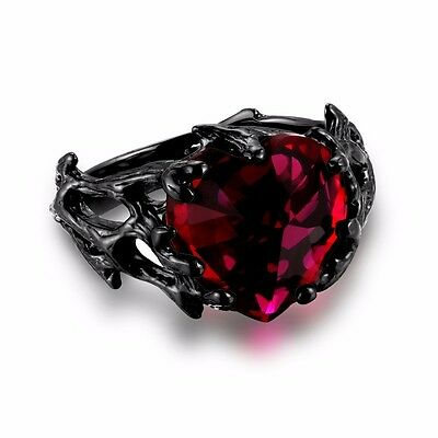 £141.96 • Buy Women's Black Ring Ruby Heart 925 Sterling Silver Gothic Style